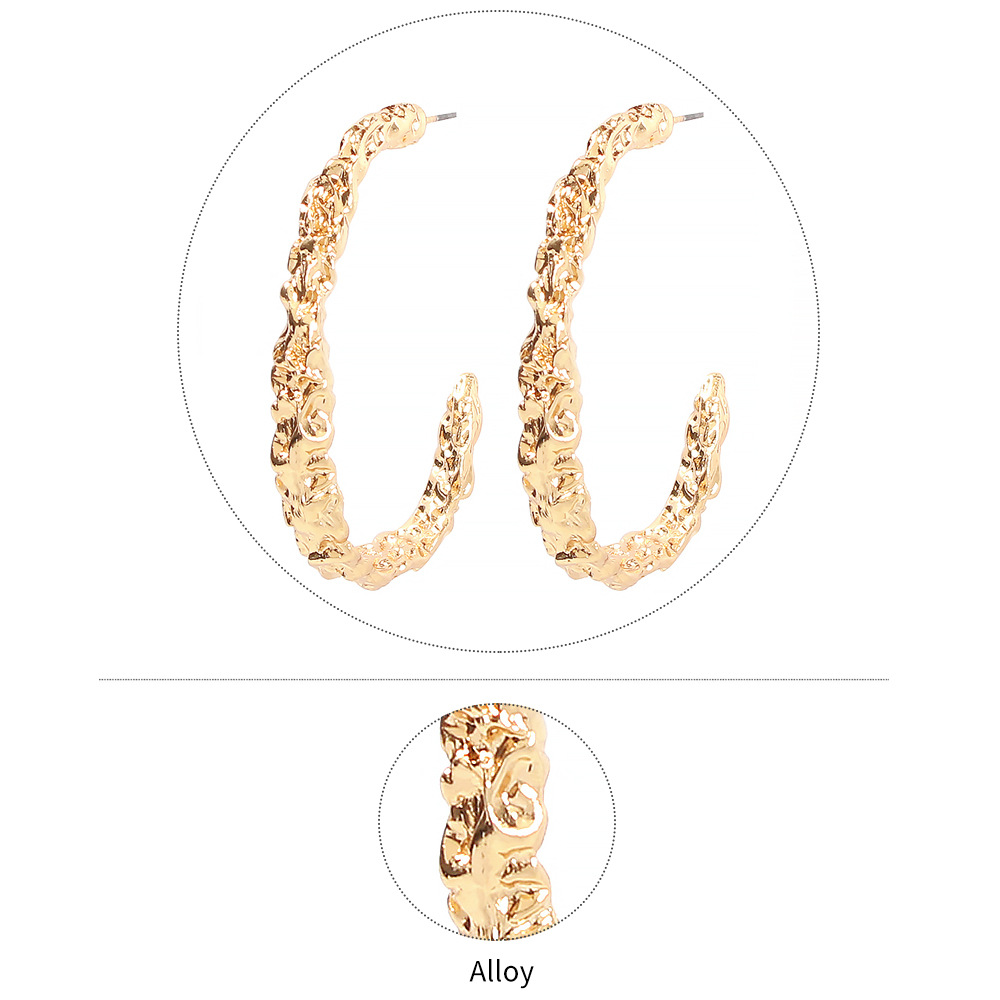 Stylish and simple cool style personality C-shaped vintage alloy earrings NHMD175886