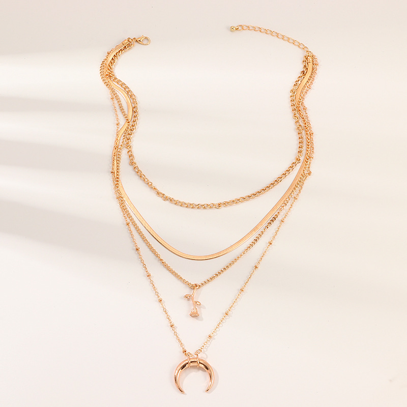 Jewelry fashion metal multilayer item creative rose moon pendant necklace women NHNZ185910