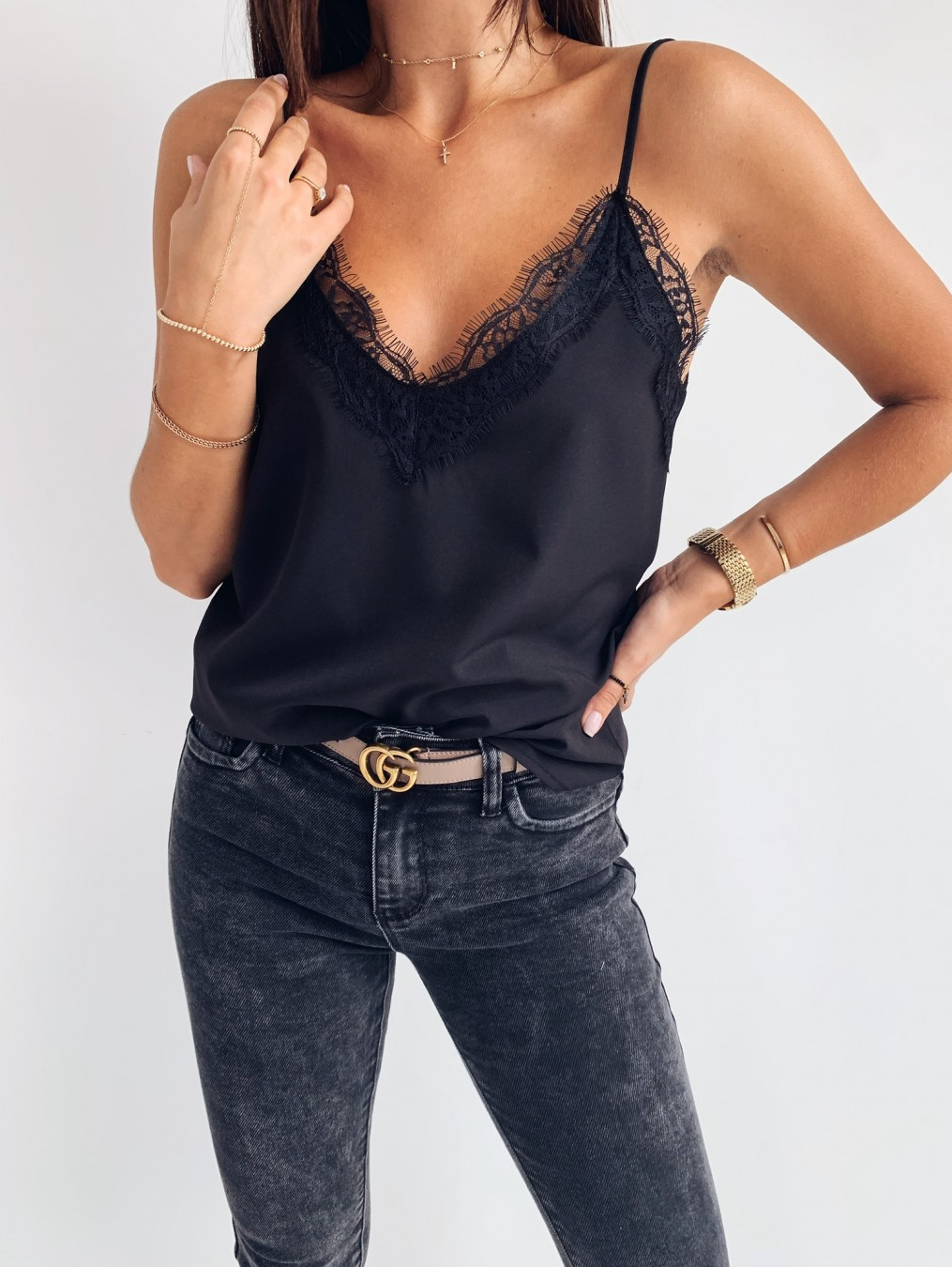 summer new fashion V-neck lace bottoming shirt small vest top  NSYF1062