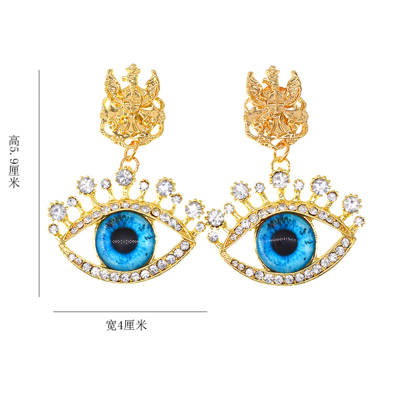 New retro diamond blue eyes sweet exaggerated fashion earrings wholesale NHNT203547