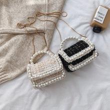 鏈條小包包女2020新款潮韓版百搭小香風珍珠手提呢子包單肩斜挎