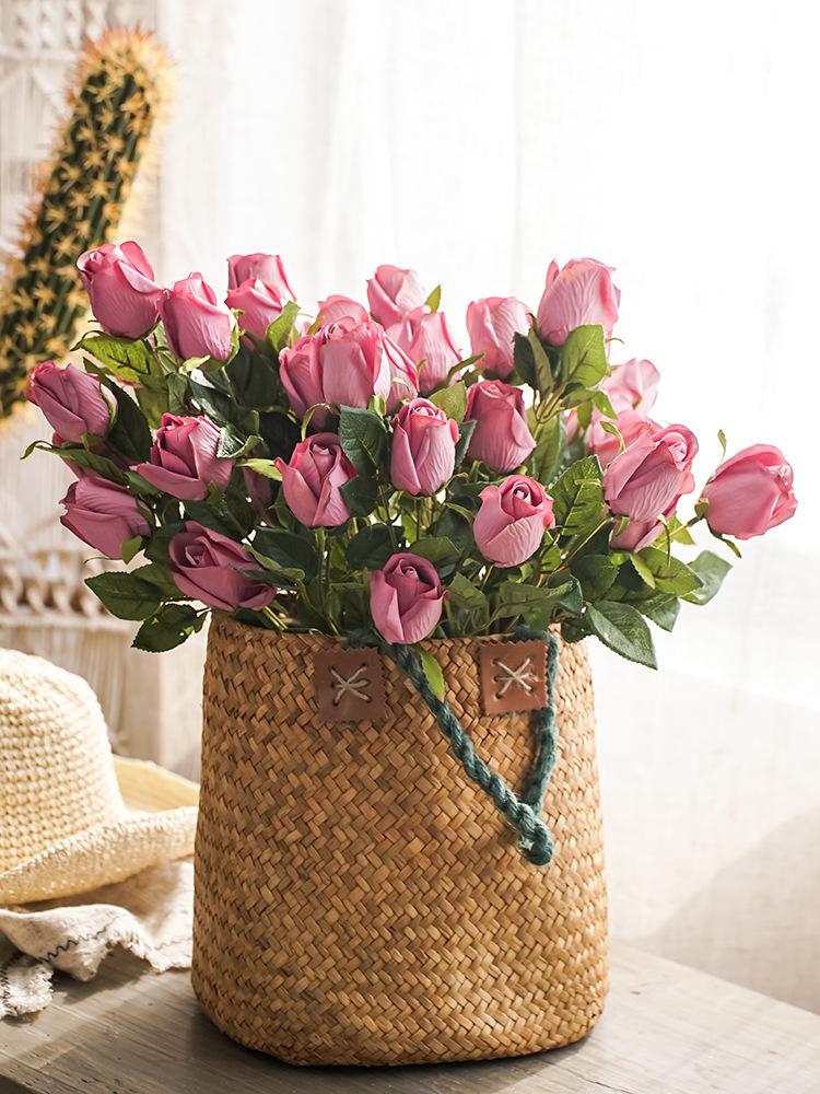左岸 9头花束摆放花卉玫瑰油画客厅摆放花卉花假花绢花摆放花卉花