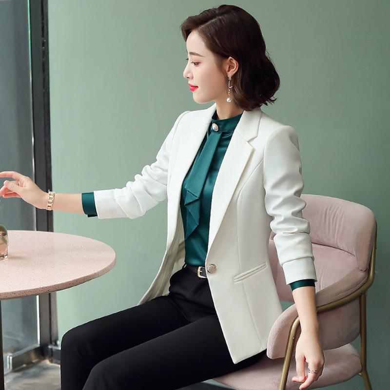白色氣質小西裝女套裝2020秋冬新款時尚女士一扣西服外套職業套裙