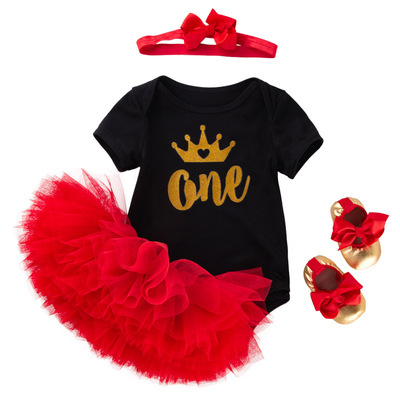 Baby birthday party dresses crown mother festival children black dress red Tutu skirt cover