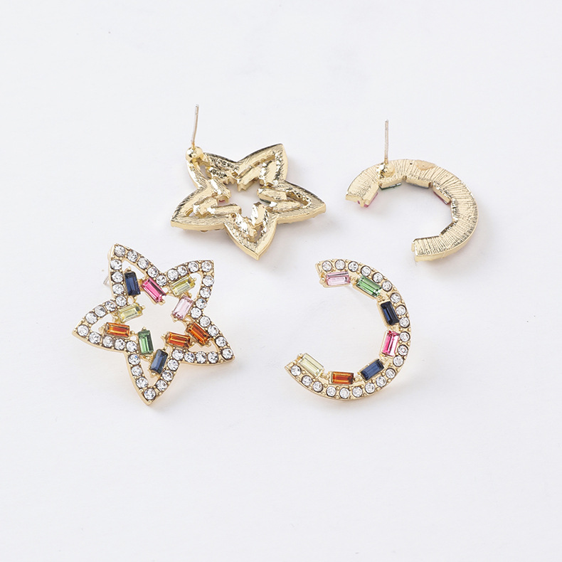 925 Silver Needle Fashion Personality Flash Diamond Color Crystal Geometric Earrings NHMS184474