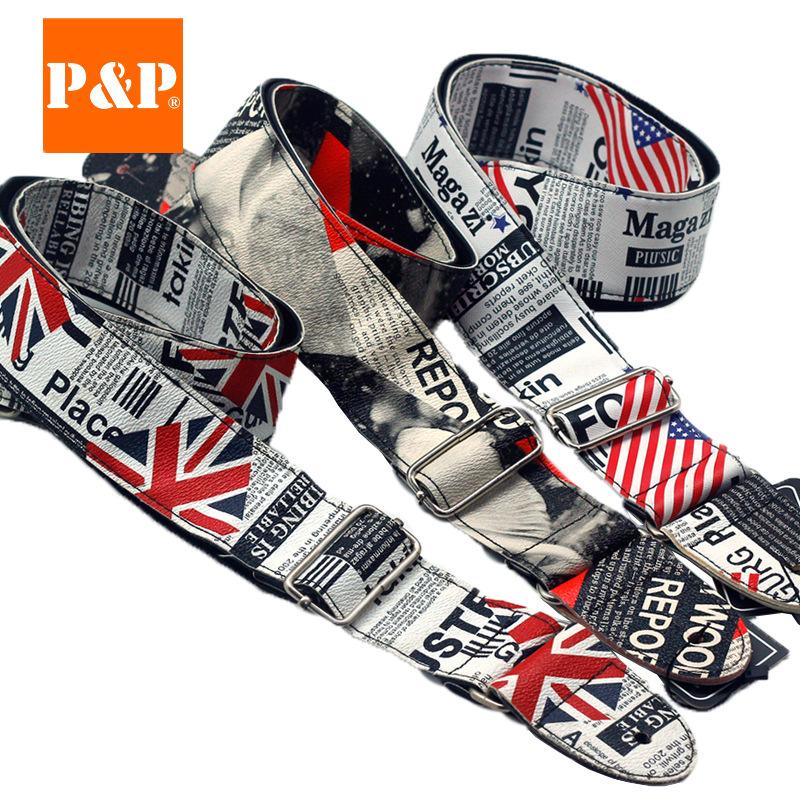 PP吉他背带批发 美国英国国旗民谣电吉他背带 PU皮革乐器配件厂