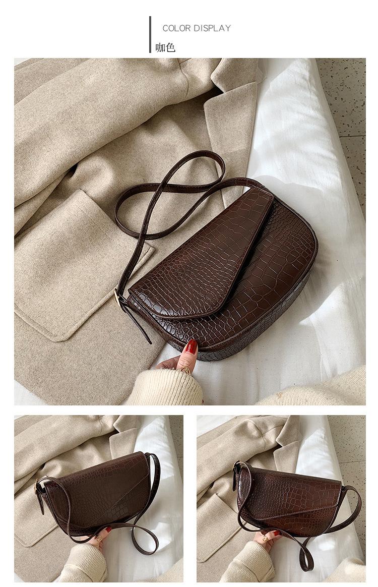 Simple wild retro solid color stone saddle bag shoulder Messenger bag NHLD187250