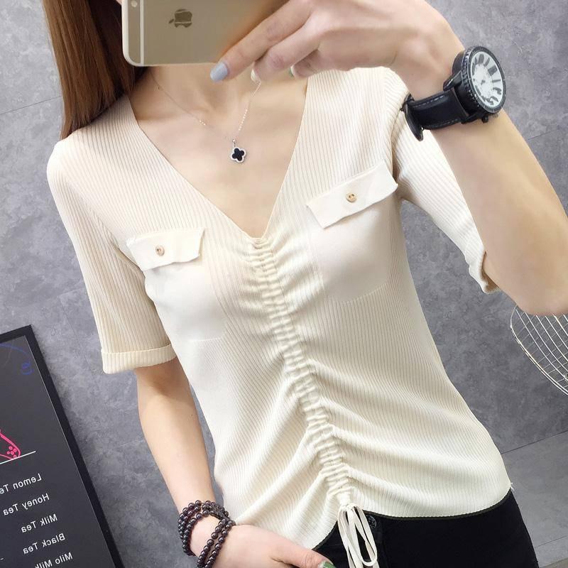 冰丝t恤女韩版抽绳短袖露脐性感V领针织衫修身显瘦中袖女学生上衣