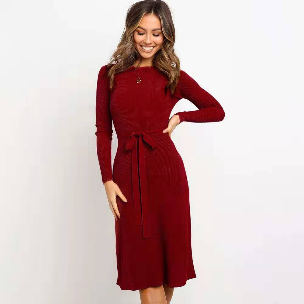 round neck long-sleeved lace-up solid color dress knitted mid-length skirt NSYD3720