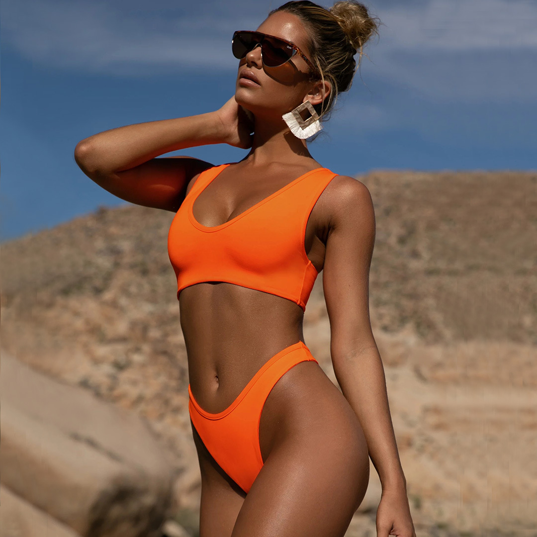 New hot style ladies split solid color swimwear bikini wholesale nihaojewelry NHZO243827