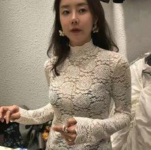蕾絲打底衫女韓國東大門黑色套頭內搭毛衣秋冬高領拉鏈款上衣