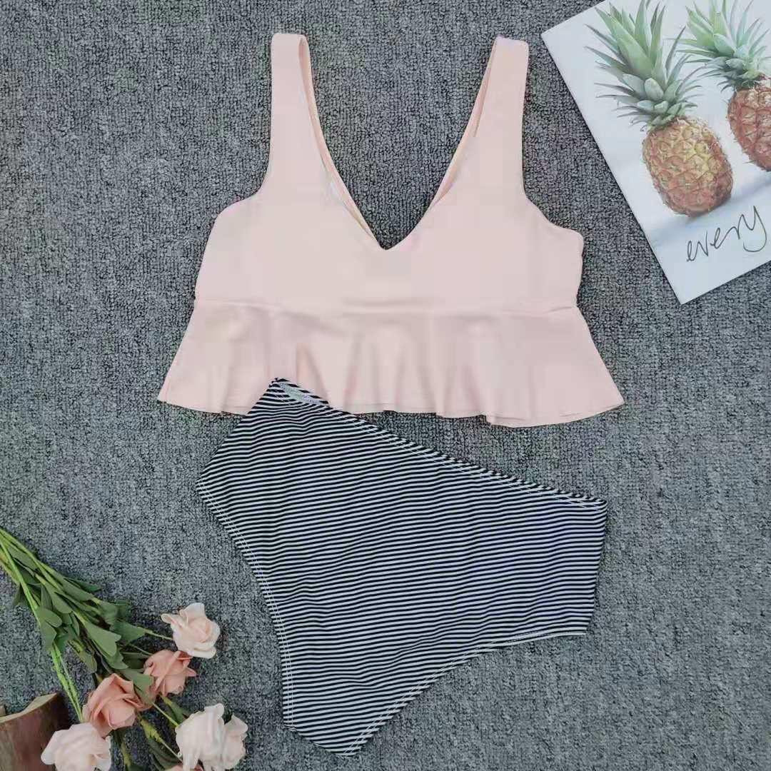ladies split striped simple swimsuit NSZO1566
