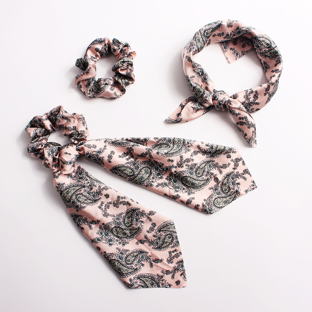 New fashion printed scarf hair band streamer fabric cheap hair ring wholesale NHDM205036