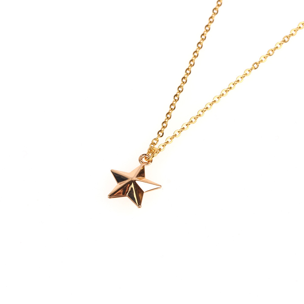 Accessories Wholesale Hollow Star Necklace Lucky Pentagram Necklace Lady Clavicle Chain Wholesale NHPY184656