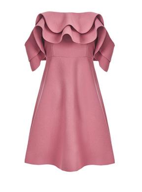 2020春夏装新款欧美甜美荷叶边小礼服露肩抹胸一字肩连衣裙女