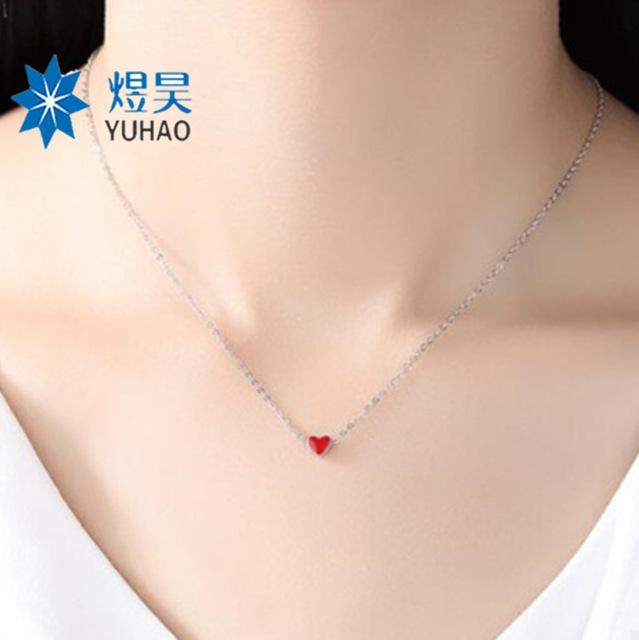 纯银小红心项链 天猫热销款韩式女式百搭锁骨链滴胶爱心精美项链