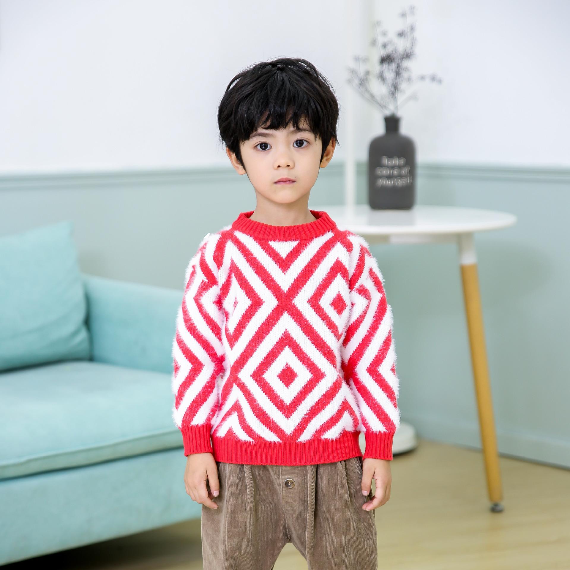 现货秋季水貂绒休闲中小童男英伦条纹长袖圆领毛衣线衫