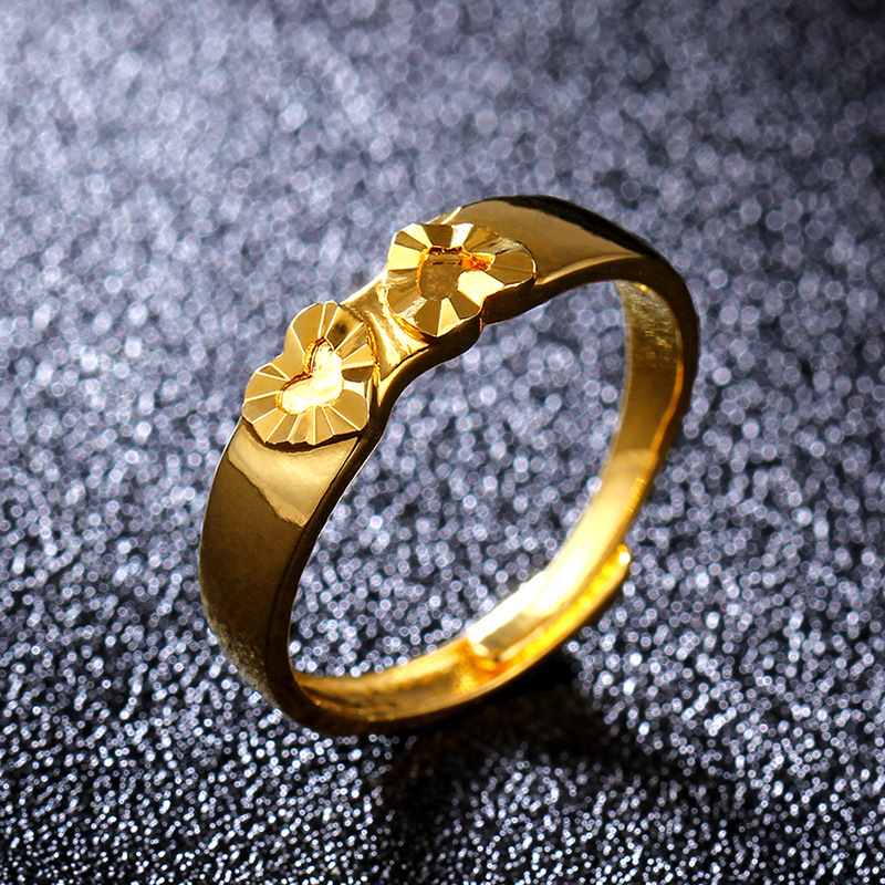 Fashion 18KGP Imitation Gold Ring Golden Peach Heart Ring NHIM195209
