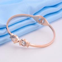 Xu hướng trang sức Hàn Quốc thời trang nhỏ cá tươi kim cương vòng đeo tay bằng thép titan vàng hồng mở hipster đa năng tay Vòng tay