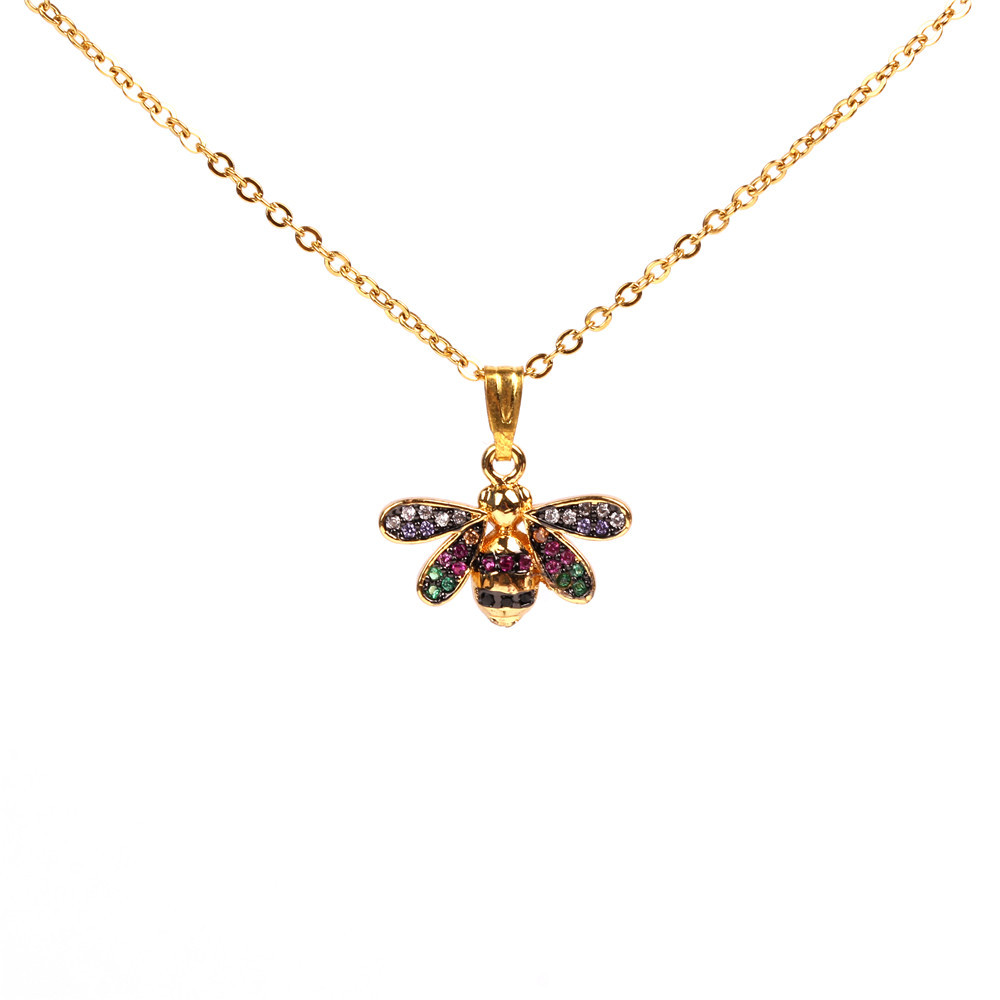 New Insect Pendant Necklace Micro Inlaid with Diamond Little Bee Necklace Female Clavicle Chain Jewelry Wholesale NHPY184663