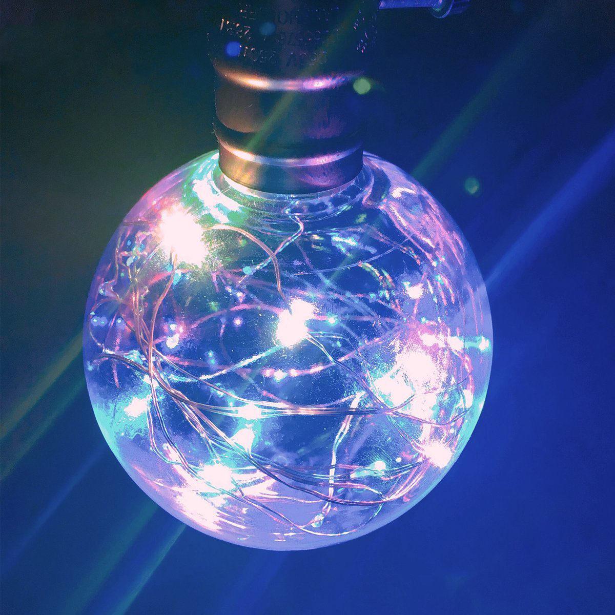 仙牛G95创意彩色LED灯泡E27七彩银线灯复古满天星圣诞装饰铜线灯
