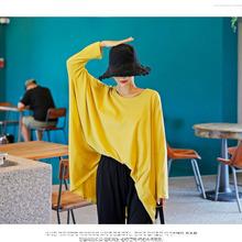 女装新品超肥版女式棉布糖果色圆领套头长袖衫蝙蝠袖基础打底衫批