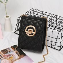 广州女包women小黑包包女2020bags单肩斜跨手机包mini女士菱格包