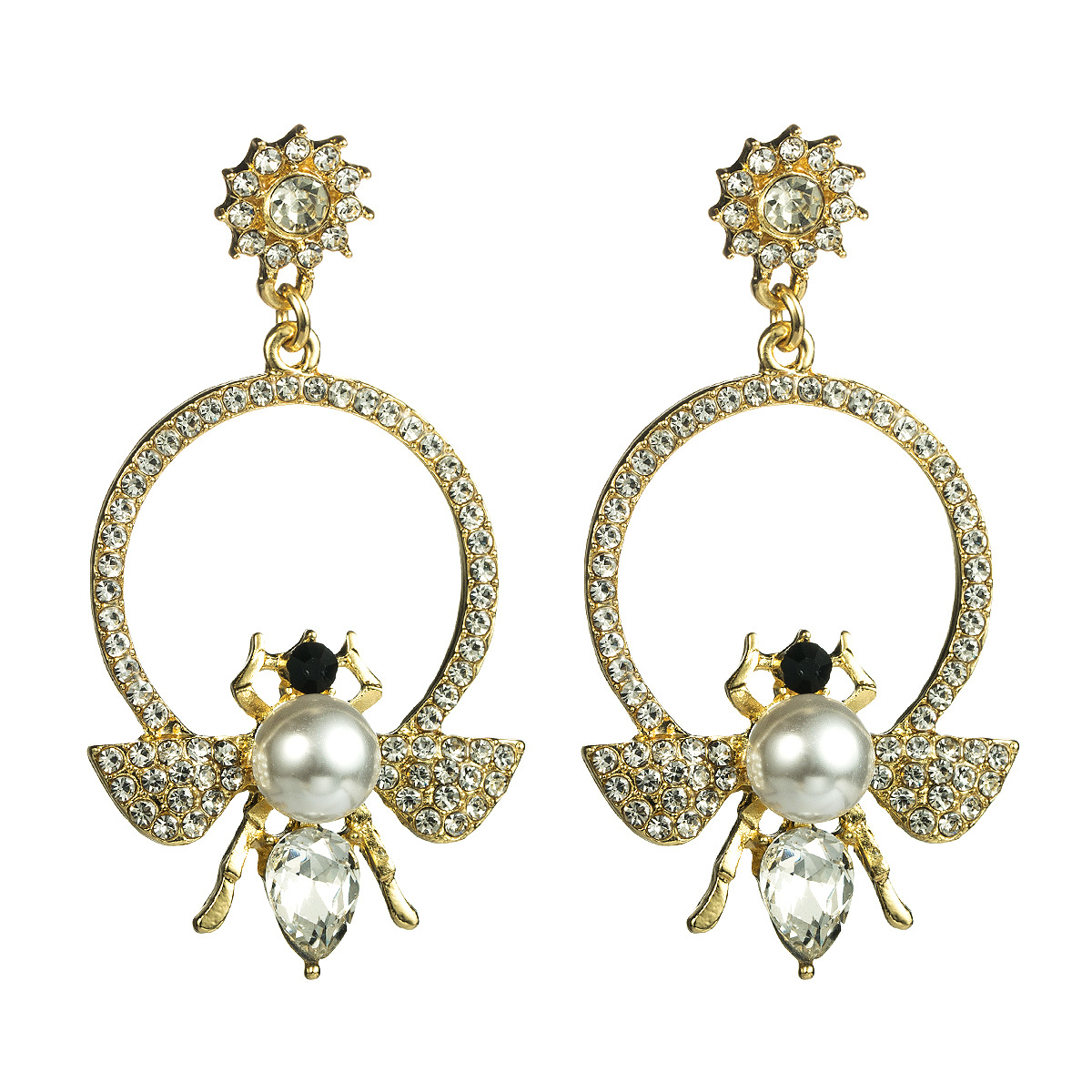 Fashion Alloy Rhinestone Bees with Pearl Earrings NHJE155421