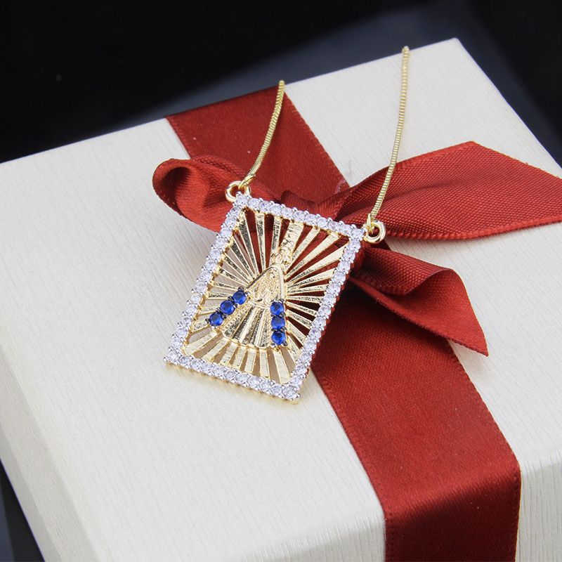 Hot Zirconium Square Square Virgin Tag Necklace yiwu nihaojewelry wholesale fashion new copper plated platinum plated necklace NHBP213535