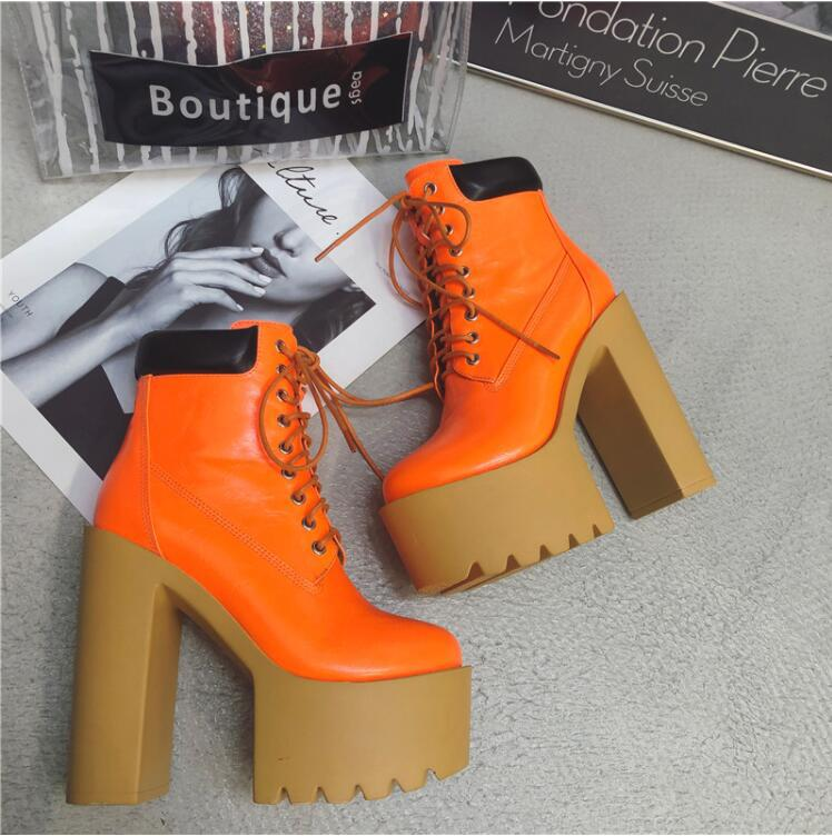 Europe and the United States wild high-heeled waterproof platform straps  booties NHSO145600