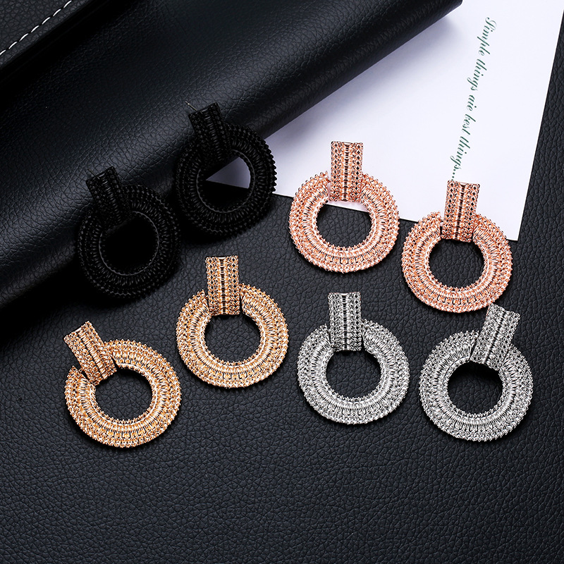 New Fashion Simple Geometric Ring Earrings Wild Metal Plating Circle Earrings NHDP206000