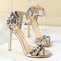267-2 European and American Roman style women's shoes with thin heels, super high heels and open toes with hollow color rivet sandals