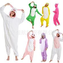 小白兔搖粒絨卡通連體睡衣紅兔子黃藍兔子演出服廠家直銷質量保證