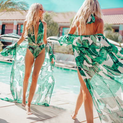 Chiffon Green Banana Leaf Printed long swimsuit cover up coat Sexy Sunscreen Cardigan Holiday long beach dress Bikini Outer Blouse bathing suit out cover