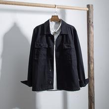 一件代发2019春季新款洗水翻领文艺夹克男 日系简约全棉男士外套