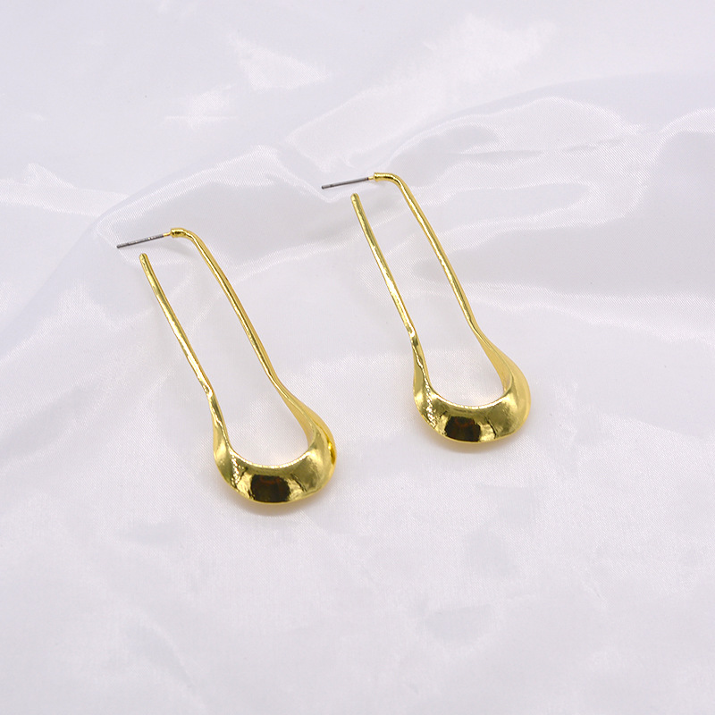 Vintage old golden u-shaped earrings shaped earrings NHNT177565