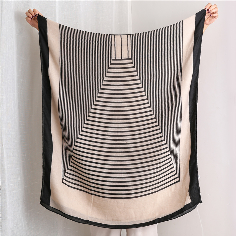 Black and white border cotton and linen feel scarf female wild wild crazy striped scarf shawl NHGD199189