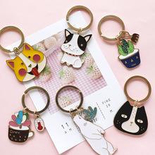 韩国卡通动物不锈钢钥匙扣男女可爱创意钥匙链汽车钥匙圈情侣挂件