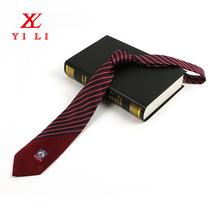 紅色條紋領帶 標記定制領帶 滌絲男士商務領帶