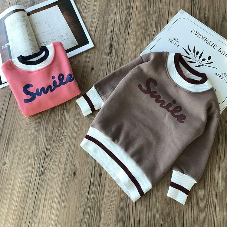 双层加绒加厚2018冬装季新款女童宝宝字母连衣裙中小童儿童卫衣裙