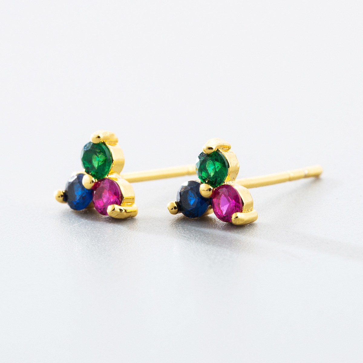 New earring fashion Korean earrings ladies earrings micro-inlaid colorful zircon geometric ear pins NHLN192568