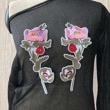 2019新款布贴牛仔衣补丁对花贴花服装DIY领花布贴 电?#28304;?#32483;布贴