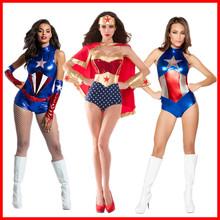 万圣节新款女超人漆皮装  美国队长连体衣化妆舞会服饰批发