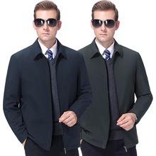 正品棉衣夾克秋冬新款外套中老年男士輕薄棉襖桑蠶絲翻領棉服批發