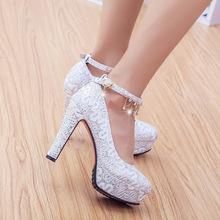 包邮金色新娘鞋银色防水婚鞋女搭扣伴娘台超高跟粗跟宴会礼服单鞋
