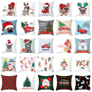 18'' Cushion Cover Pillow Case Cartoon Christmas Dog Car Design pillow cover holiday home decoration office car cushion pillow cover