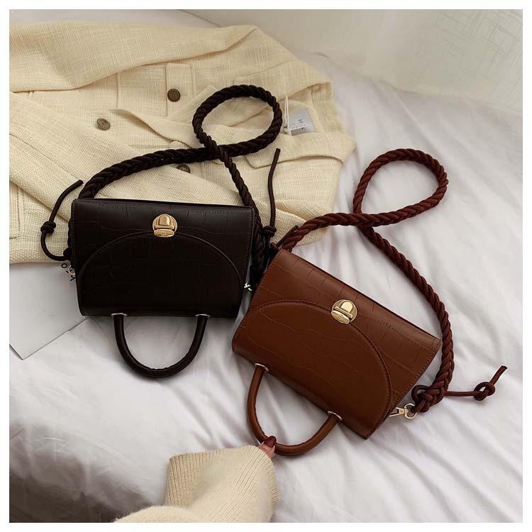 New retro fashion stone pattern handbag female simple wild thick rope lock single shoulder diagonal package NHPB178542