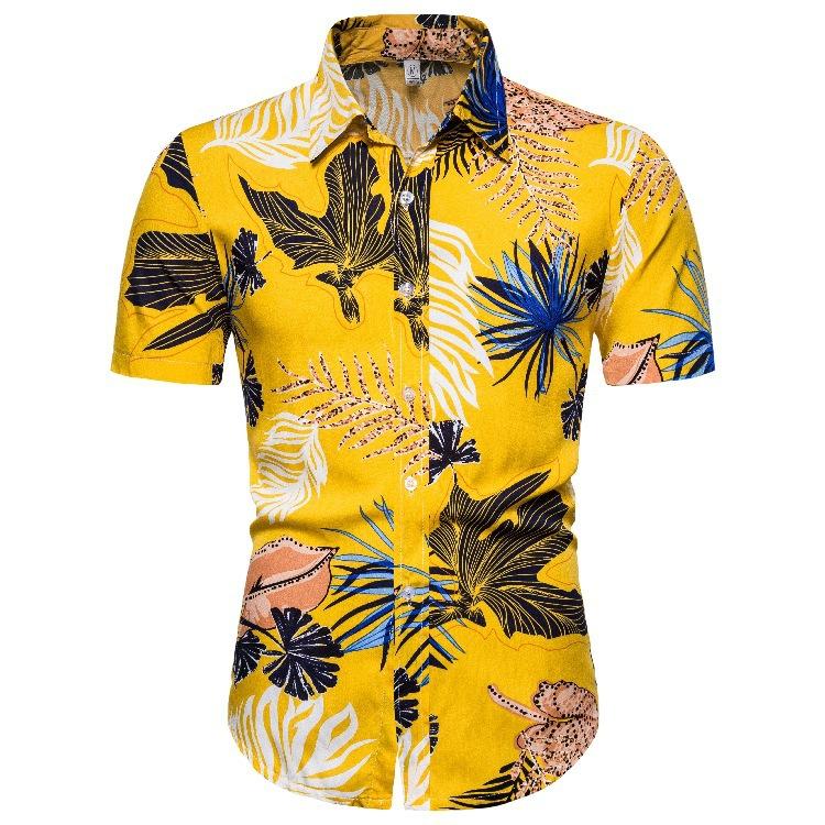 2020 Hawaiian broccoli floral shirt series short sleeve Lapel shirt cs135