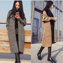 外貿跨境秋冬厚2020毛衣外套長款女寬松大碼針織衫斜邊口袋開衫
