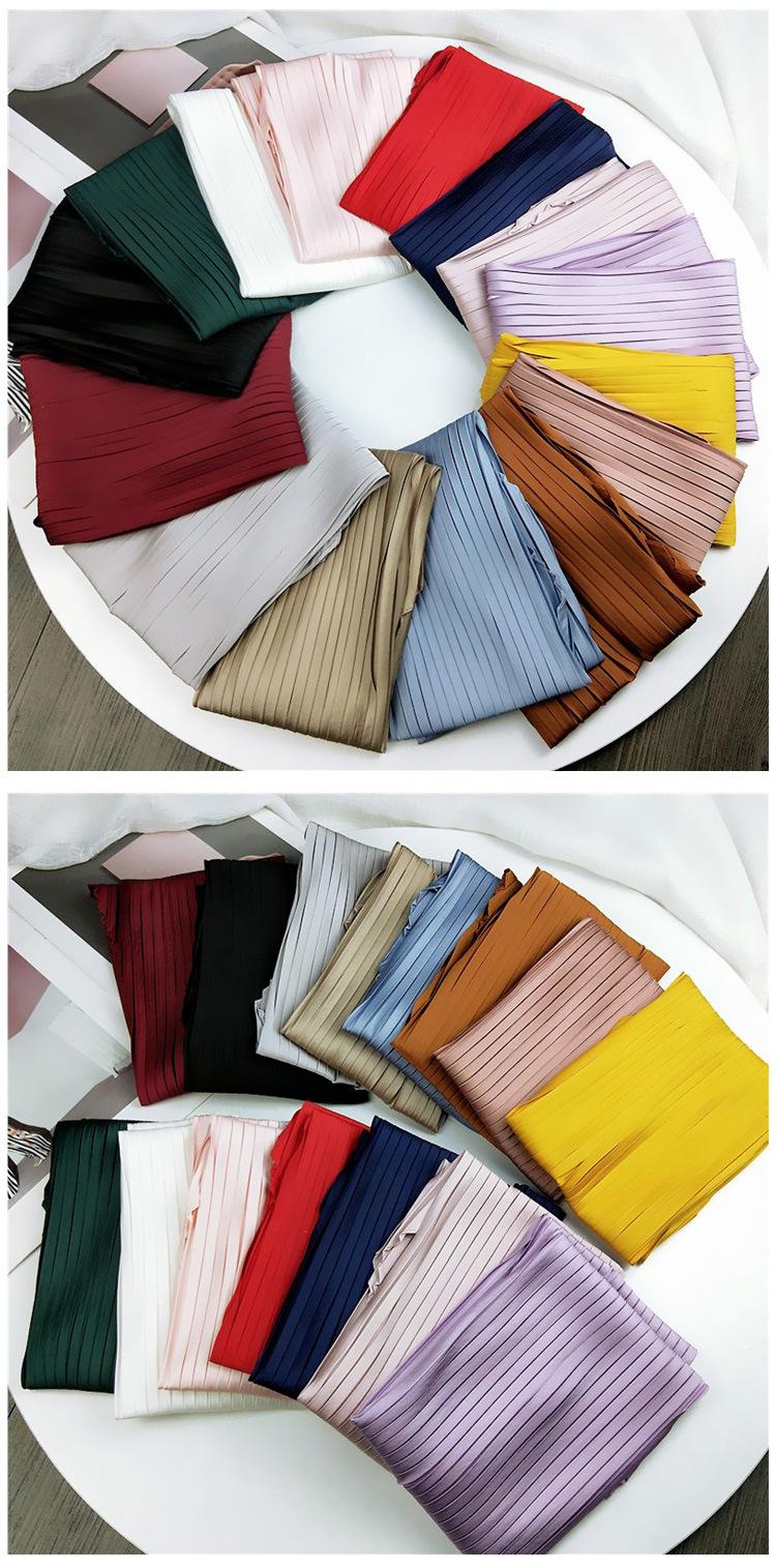 Solid color pleated diamond square scarf literary retro small scarf NHMN171775